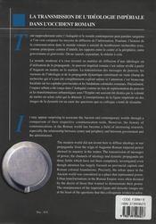 La Transmission De L'Ideologie Imperiale Dans L'Occident Romain - 4ème de couverture - Format classique