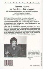 Famille Et Les Langues (Lesune Etude Sociolinguistique - 4ème de couverture - Format classique