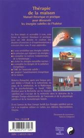 Therapie De La Maison - 4ème de couverture - Format classique