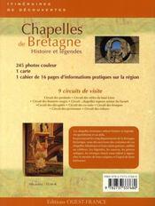 Chapelles de bretagne ; histoire et légendes - 4ème de couverture - Format classique