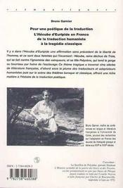 Pour une poétique de la traduction ; l'hécube d'Euripide en France de la traduction humaniste à la tragédie classique - 4ème de couverture - Format classique