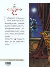 Giacomo C. t.2 ; la chute de l'ange - 4ème de couverture - Format classique