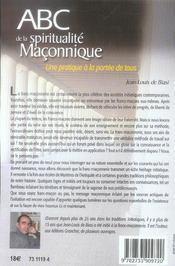 Abc De La Spiritualite Maconnique - 4ème de couverture - Format classique