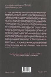 La Constitution Du Chomage En Allemagne. Entre Professions Et Territo Ires - 4ème de couverture - Format classique