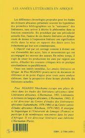 Les Annees Litteraires En Afrique, 1912-1987 - 4ème de couverture - Format classique
