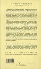 Husserl Et Proust ; A La Recherche Du Moi Perdu - 4ème de couverture - Format classique