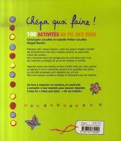Chépa quoi faire ! 100 activités au fil des mois (3-6ans) - 4ème de couverture - Format classique