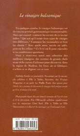 Le vinaigre balsamique - 4ème de couverture - Format classique