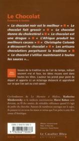 Le chocolat - 4ème de couverture - Format classique