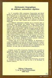Dictionnaire Biographique De Militants Nationalistes Algeriens - 4ème de couverture - Format classique