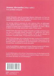 Jeanne alexandre, une pacifiste intégrale - 4ème de couverture - Format classique