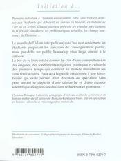 Initiation A L'Islam Des Origines Viie-Xie Siecle - 4ème de couverture - Format classique