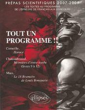 Tout un programme ; prépas scientifiques 2007-2009 - Intérieur - Format classique