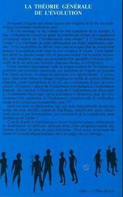 La Theorie Generale De L'Evolution - 4ème de couverture - Format classique