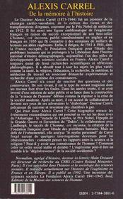 Alexis Carrel ; de la mémoire à l'histoire - 4ème de couverture - Format classique