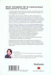Droit Europeen De La Concurrence. Opportunites Et Menaces - 4ème de couverture - Format classique