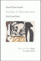 Feuillées et memento mori - Couverture - Format classique