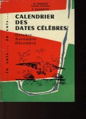 Calendrier Des Dates Celebres - Couverture - Format classique