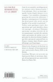 Le Couple Homosexuel Et Le Droit - 4ème de couverture - Format classique