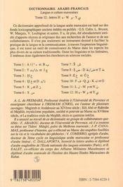 Dictionnaire arabe-francais t.12 - 4ème de couverture - Format classique