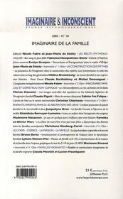 Revue Imaginaire Et Inconscient N.18 ; Imaginaire De La Famille - 4ème de couverture - Format classique
