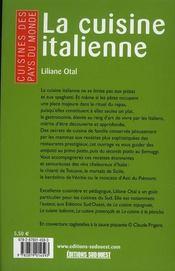 La cuisine italienne - 4ème de couverture - Format classique