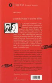 Journal d'Adam, journal d'Eve - 4ème de couverture - Format classique