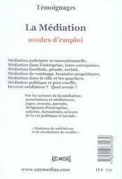 La médiation ; modes d'emploi - 4ème de couverture - Format classique