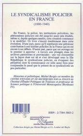 Le Syndicalisme Policier En France, 1880-1940 - 4ème de couverture - Format classique