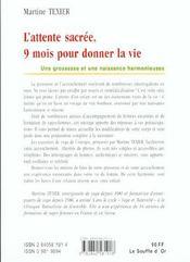 L'Attente Sacree ; Neuf Mois Pour Donner La Vie - 4ème de couverture - Format classique