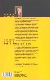 Antoine Blondin ; Un Singe En Ete - 4ème de couverture - Format classique