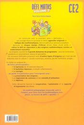 Defi Maths ; Ce2 ; T.2 ; Fiches A Photocopier - 4ème de couverture - Format classique