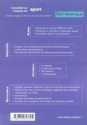 Biomécanique ; licence staps, éducateurs sportifs - 4ème de couverture - Format classique
