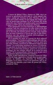 Michel Villey Et Le Droit Naturel En Question - 4ème de couverture - Format classique