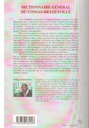 Dictionnaire général du Congo-Brazzaville - 4ème de couverture - Format classique