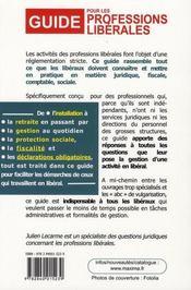 Guide juridique, fiscal et de gestion pour les professions libérales - 4ème de couverture - Format classique