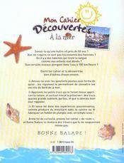 Les Carnets De Vacances : A La Mer - 4ème de couverture - Format classique