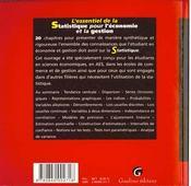Essentiel de la statistique pour l'economie - 4ème de couverture - Format classique