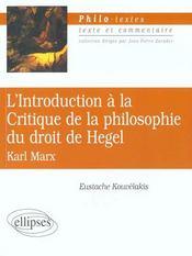 L'Introduction A La Critique De La Philosophie Du Droit De Hegel Karl Marx - Intérieur - Format classique