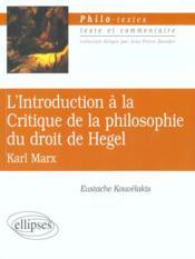 L'Introduction A La Critique De La Philosophie Du Droit De Hegel Karl Marx - Couverture - Format classique