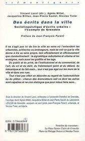 Des écrits dans la ville ; sociolinguistique d'écrits urbains : l'exemple de Grenoble - 4ème de couverture - Format classique