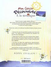 Mon Cahier Decouvertes ; A La Montagne - 4ème de couverture - Format classique