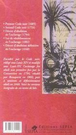 Le code noir et autres textes de lois sur l'esclavage - 4ème de couverture - Format classique