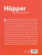 Edward hopper, les annéss parisiennes, 1906-1910 - 4ème de couverture - Format classique