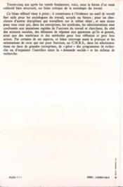 Travail Et Sa Sociologie Essais Critiques - 4ème de couverture - Format classique