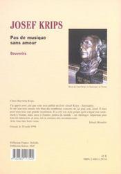 Pas De Musique Sans Amour ; Josef Krips - 4ème de couverture - Format classique