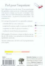Perl pour l'impatient - 4ème de couverture - Format classique