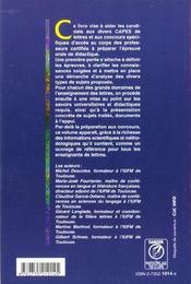 La didactique aux capes de lettres - 4ème de couverture - Format classique