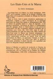 Les Etats-Unis et le Maroc ; le choix stratégique 1945-1959 - 4ème de couverture - Format classique