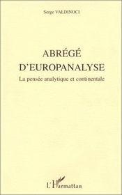 Abrégé d'europanalyse ; la pensée analytique - Couverture - Format classique